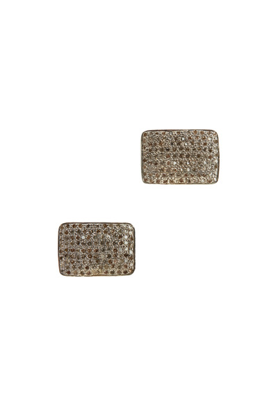 Tulah Jem - Clip-On Small Rectangle White Diamond Earrings