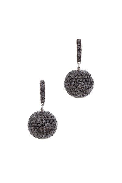 Loren Jewels - 18K Gold & Silver Black Diamond Ball Earrings