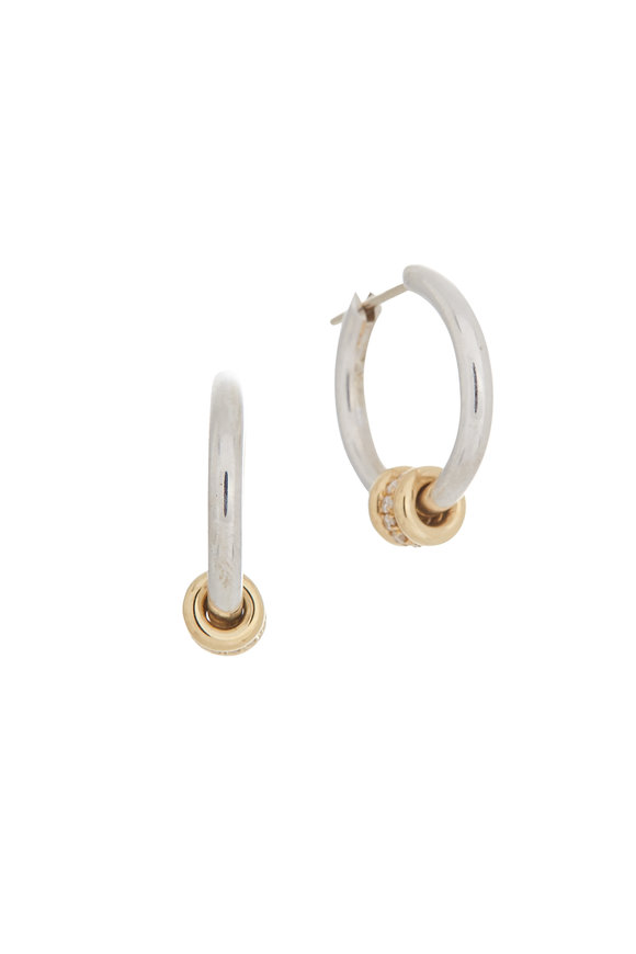 Spinelli Kilcollin 18K Yellow Gold & Silver Pavé Diamond Hoops
