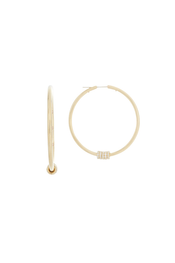 Spinelli Kilcollin 18K Yellow Gold Diamond Pegasus Hoops