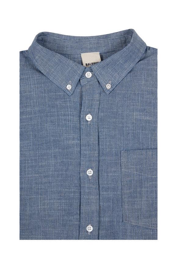 Baldwin William Blue Vintage Woven Sport Shirt