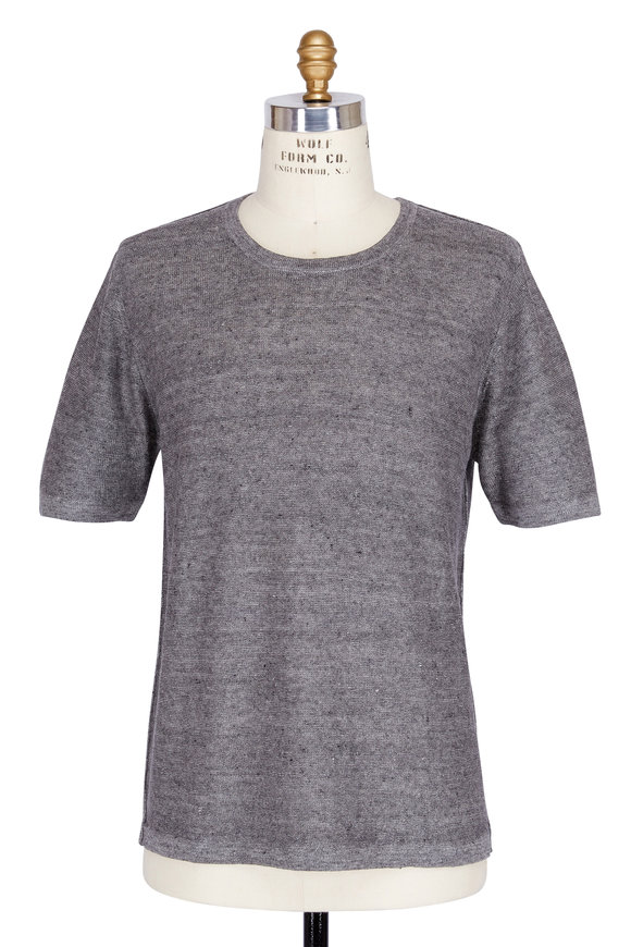 Baldwin Otto Grey Linen Crewneck T-Shirt