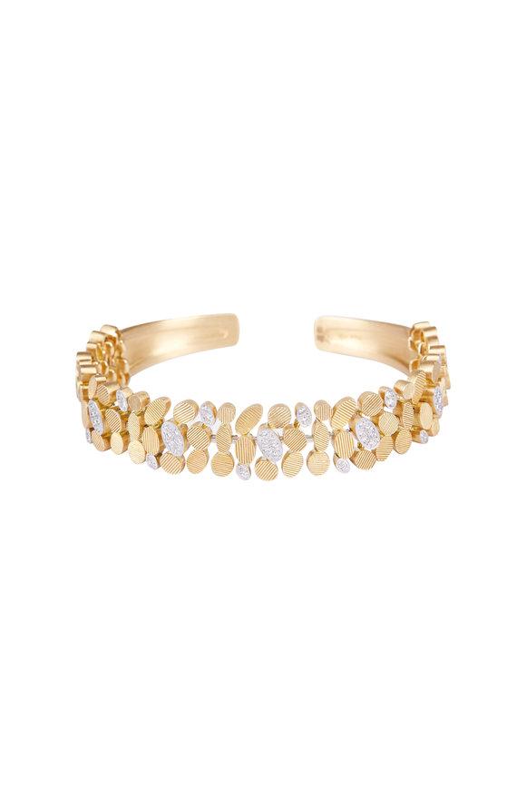Luisa Rosas 18K Yellow Gold Diamond Petal Cuff Bracelet
