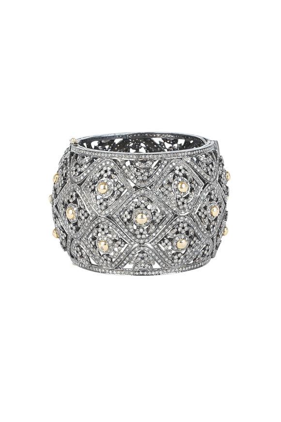 Loren Jewels 14K Gold & Silver Pavé Diamond Bangle