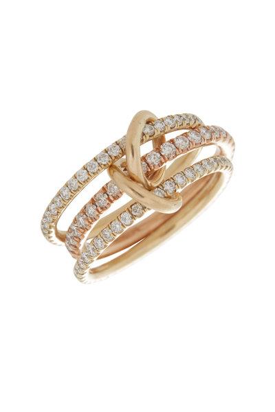 Spinelli Kilcollin - 18K Gold Pavé Diamond Three Link Ursula Ring