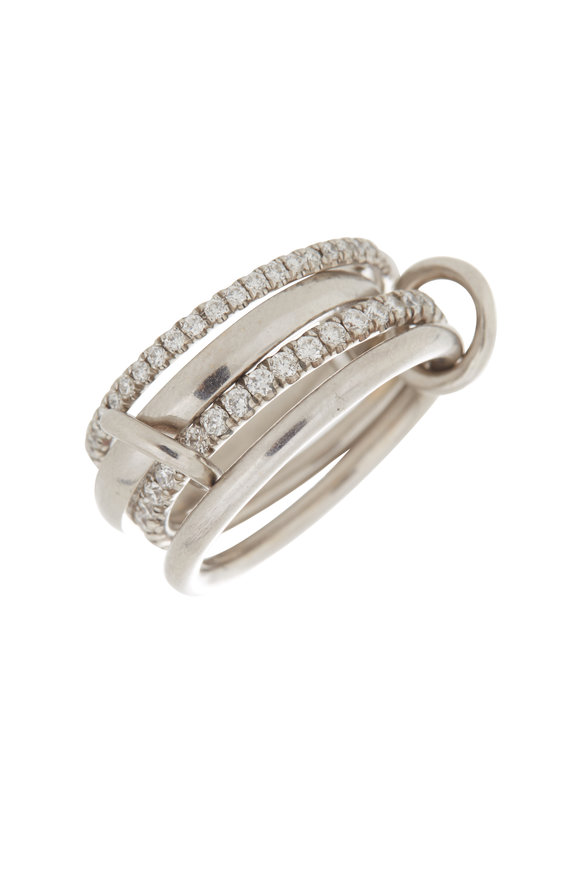Spinelli Kilcollin 18K White Gold Pavé Diamond Four Link Polaris Ring
