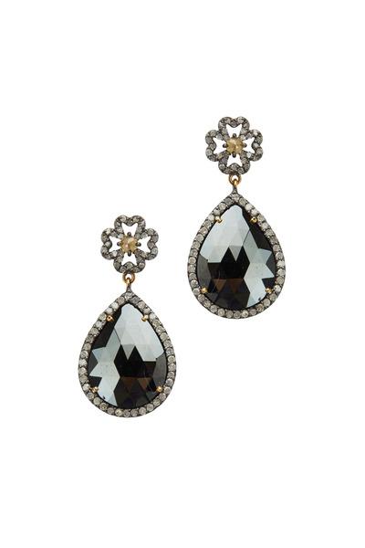 Loriann - Gold Black Spinel White & Cognac Diamond Earrings