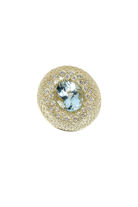 Paul Morelli 18K Yellow Gold Aquamarine & Diamond Mesh Ring