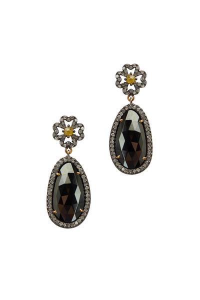 Loriann - Gold Oval Black Spinel Diamond Earrings