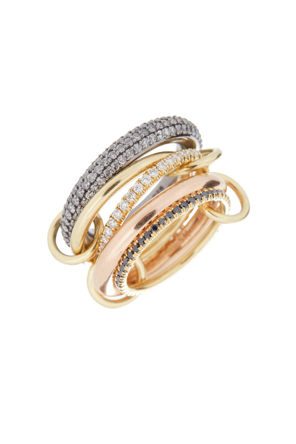 Spinelli Kilcollin 18K Gold & Silver Diamond Five Link Nexus Ring