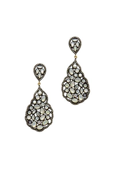 Loriann - Labradorite Mother Of Pearl Diamond Earrings