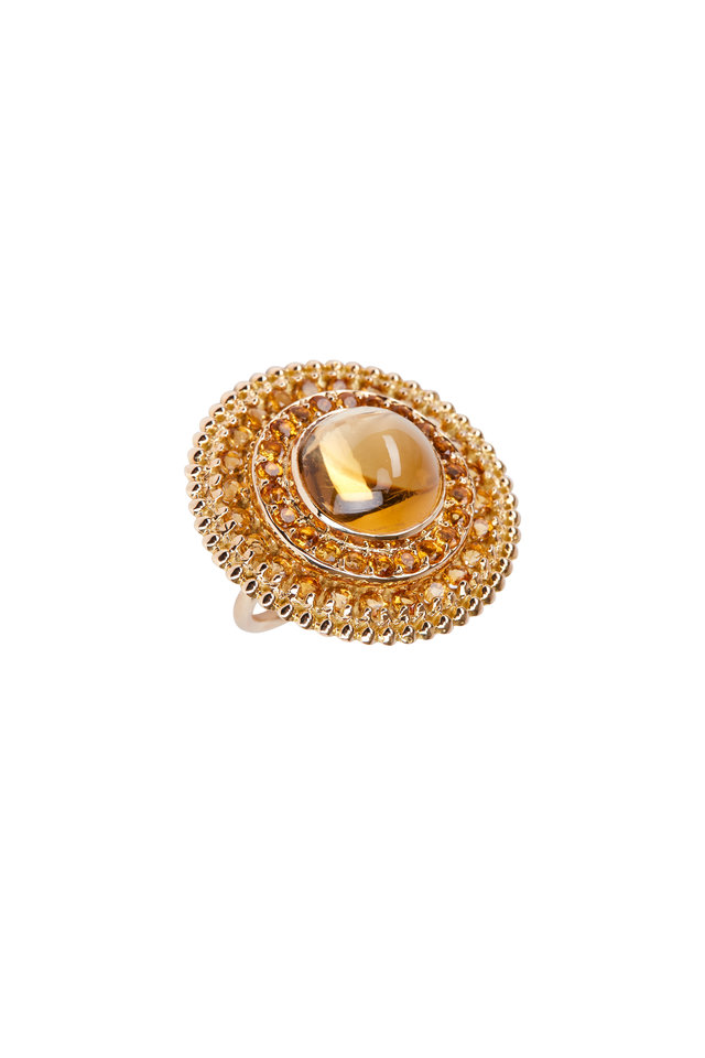 18K Yellow Gold Citrine Cabochon Ring