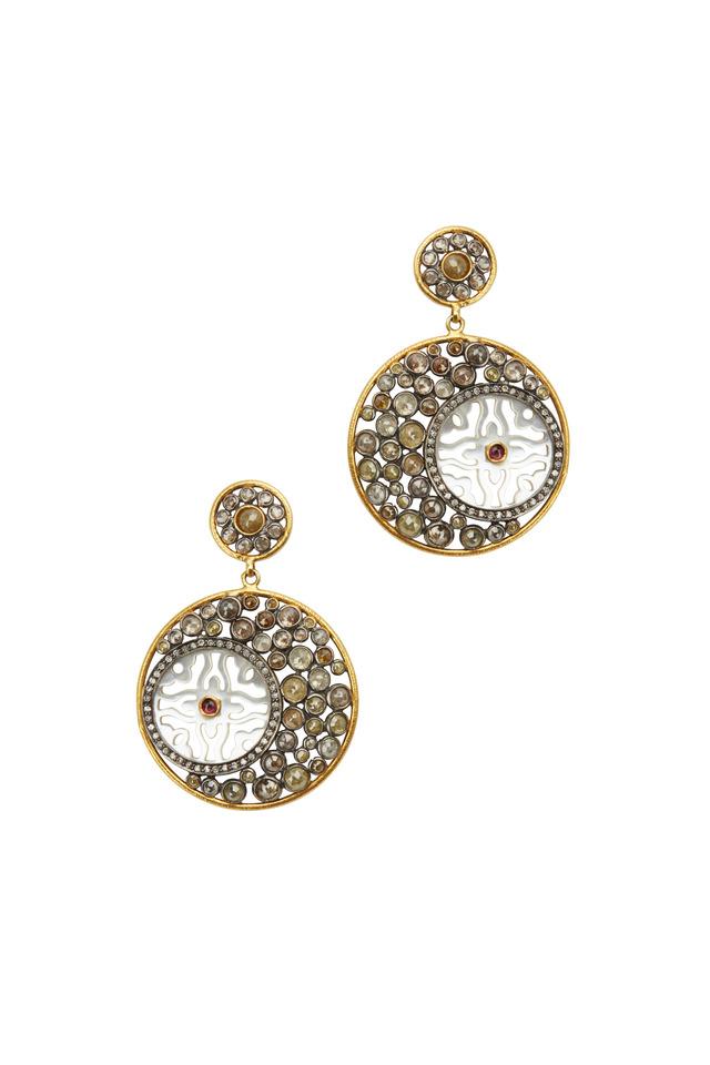 Gold & Silver Cognac Diamond Earrings
