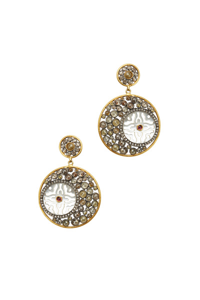 Loriann - Gold & Silver Cognac Diamond Earrings