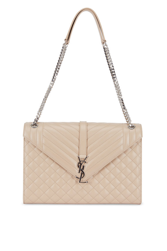 Saint Laurent Monogram Beige Mix Matelassé Leather Shoulder Bag