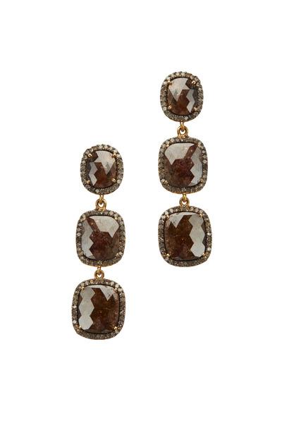Loriann - Post 3 Tier Fancy Polky Diamond Earrings