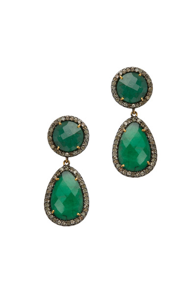 Loriann - Gold Emerald Tsavorite Diamond Dangle Earrings