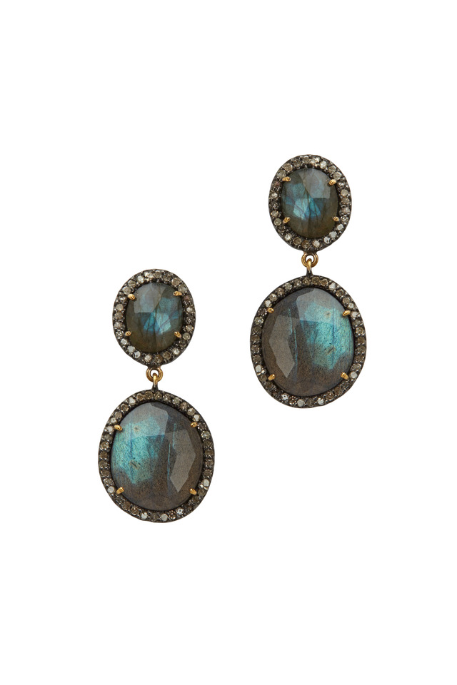 Gold Labradorite Diamond Dangle Earrings