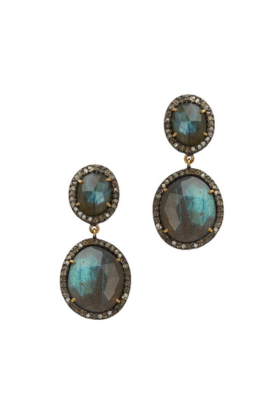 Loriann - Gold Labradorite Diamond Dangle Earrings
