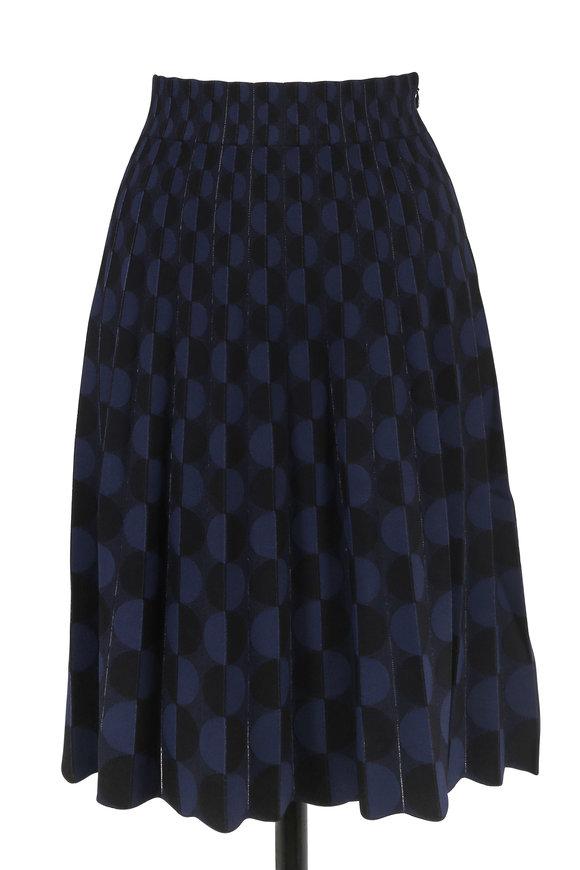 Akris Punto Denim Blue Knit Modern Dot Pleated Skirt