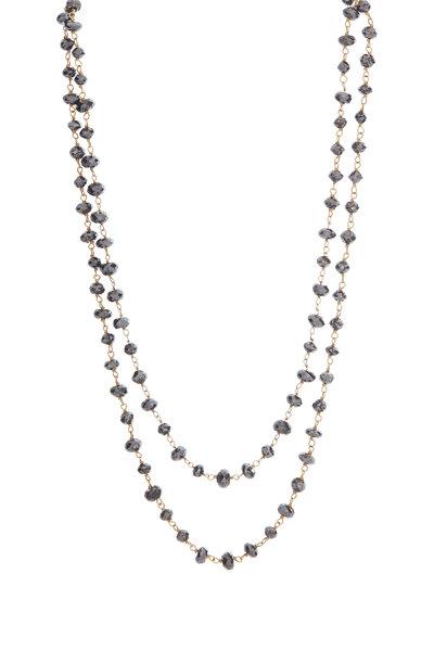 Loren Jewels - 18K Gold & Black Diamond Beaded Necklace