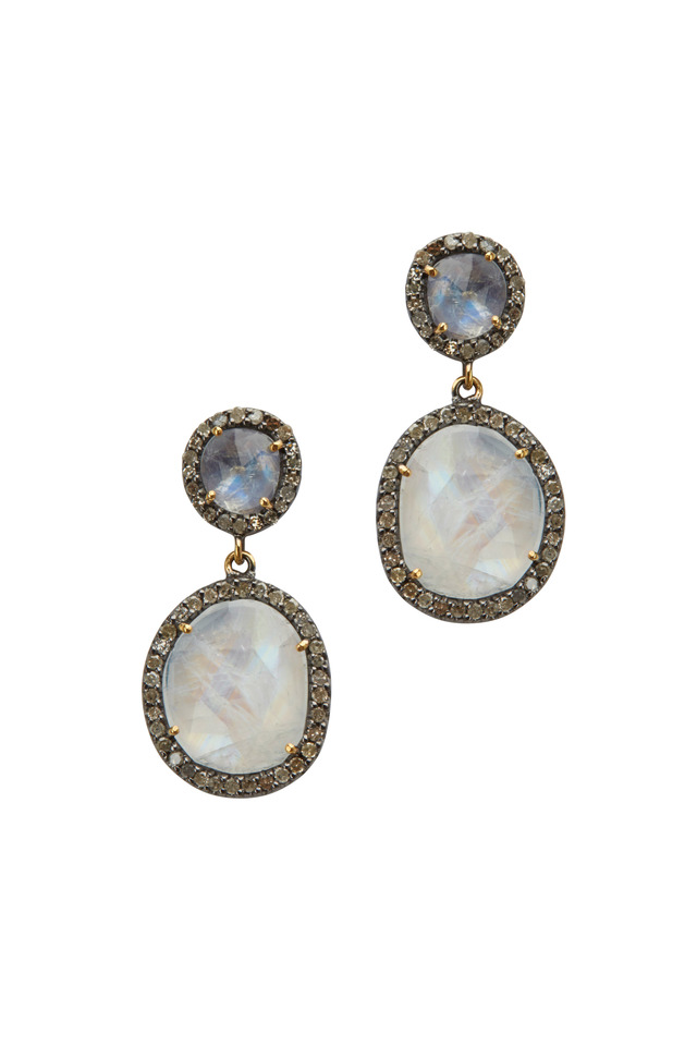 Gold & Rhodium Moonstone Diamond Earrings
