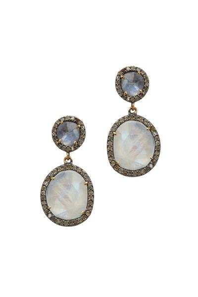 Loriann - Gold & Rhodium Moonstone Diamond Earrings