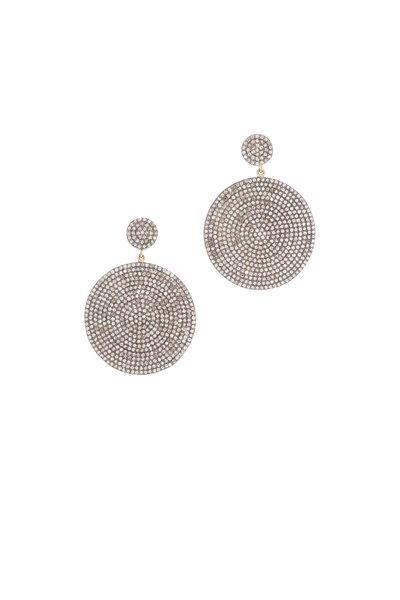 Loren Jewels - 14K Gold & Silver Pavé Diamond Circle Earrings