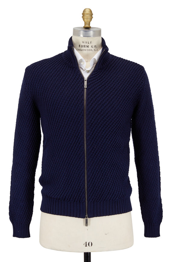 Etro Navy Blue Wool Directional Rib Zip Cardigan