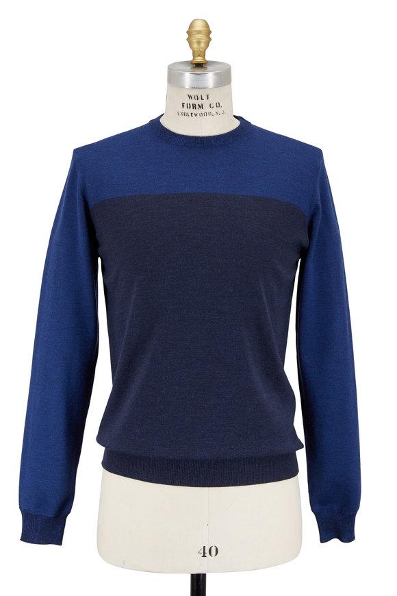 Etro Blue Colorblock Wool Crewneck Sweater