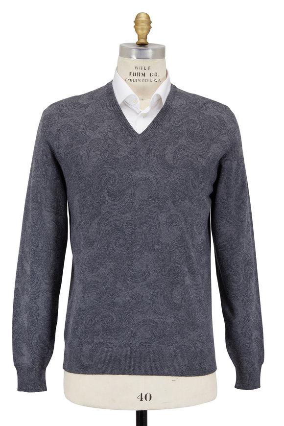 Etro Gray Wool Paisley V-Neck Sweater