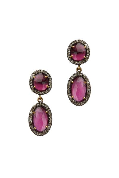 Loriann - Post Drop Tourmaline Rhodalite Diamond Earrings