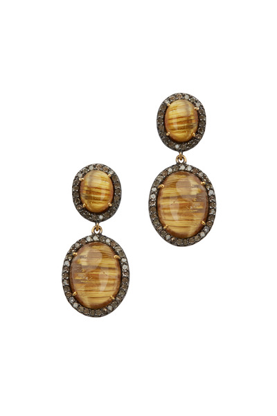Loriann - Large Post Dangle Rutile Diamond Earrings