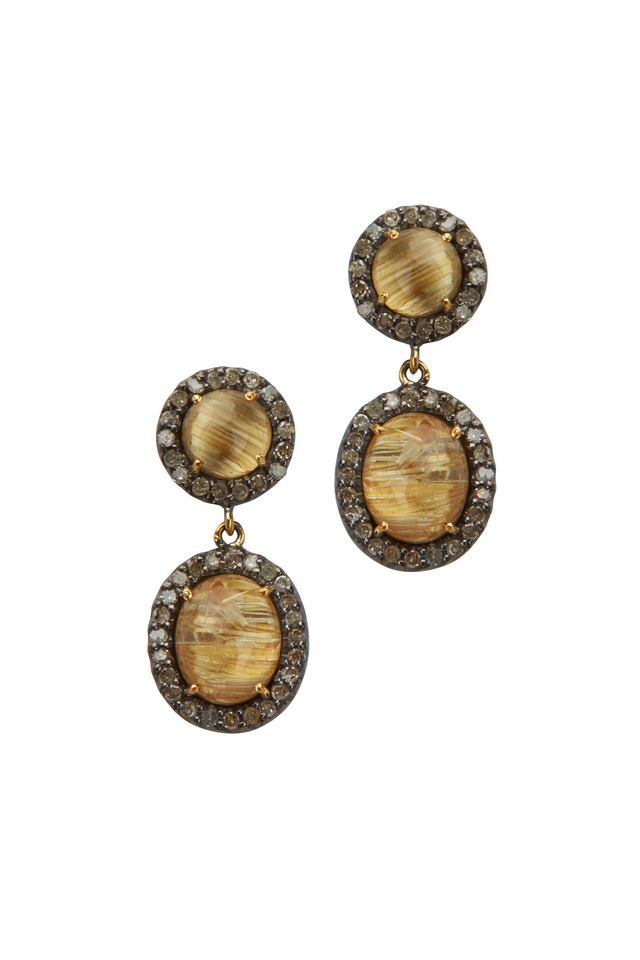 14K Gold & Silver Rutile Diamond Drop Earrings