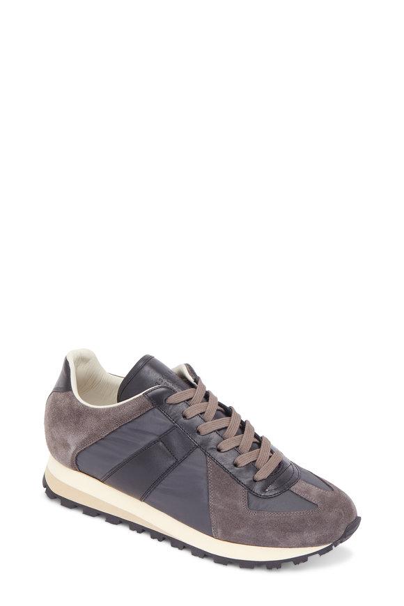 Maison Margiela Retro Gray & Black Suede & Nylon & Leather Sneaker
