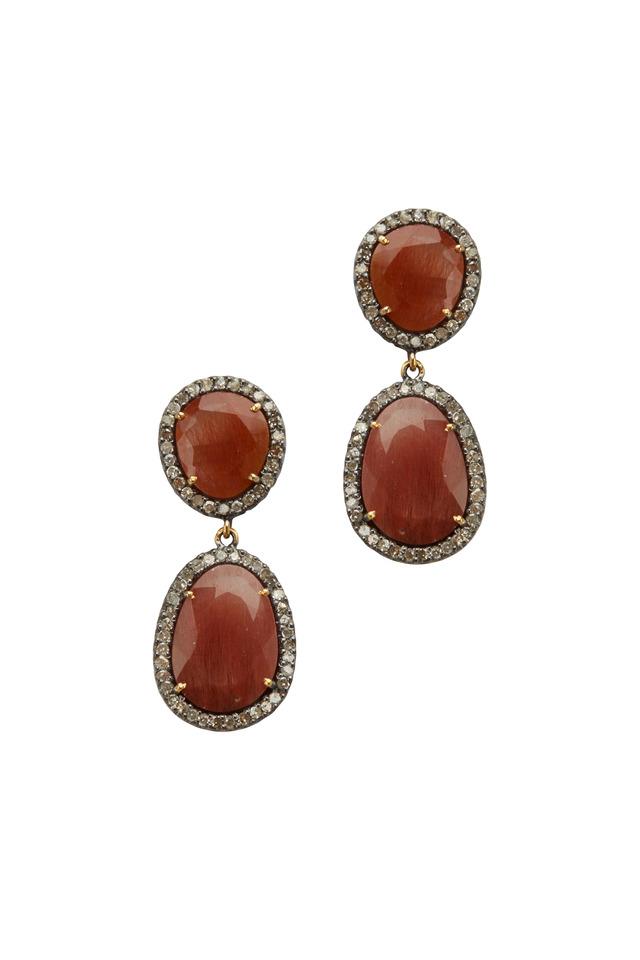 Post Dangle Rutilated Quartz Diamond Earrings