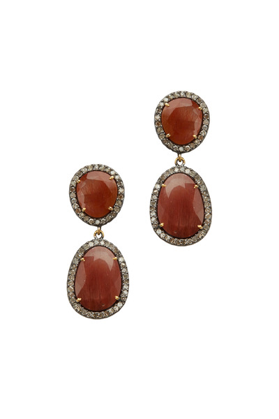 Loriann - Post Dangle Rutilated Quartz Diamond Earrings