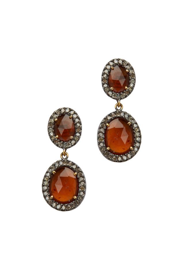 Post Dangle Hessonite Garnet Diamond Earrings