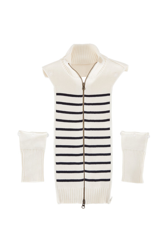 Veronica Beard Mariner Ivory & Navy Striped Cotton Dickey