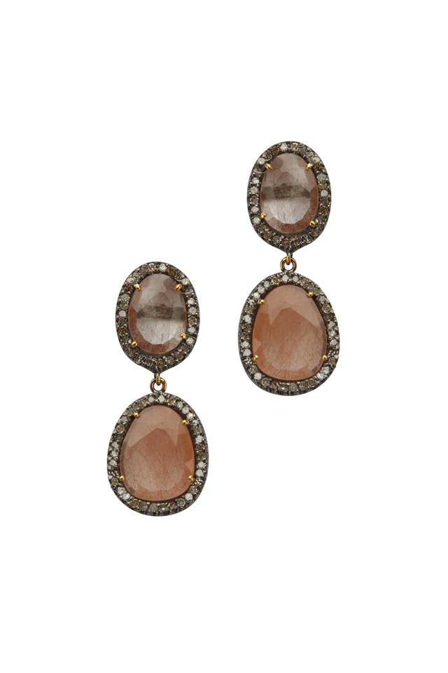 Large Post Dangle Rutile Diamond Earrings