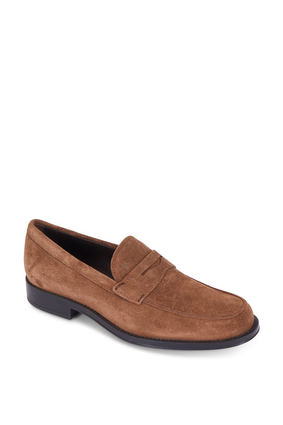 Tod's Gomma Brown Suede Penny Loafer