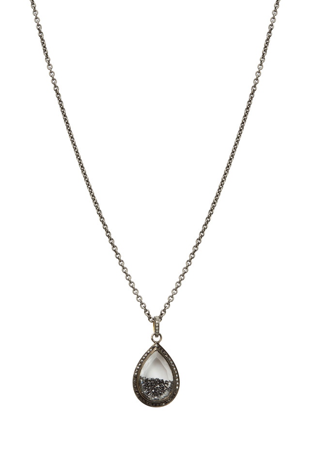 Gold Rhodium Black Diamond Shaker Necklace