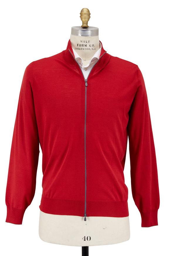 Brunello Cucinelli Red Wool & Cashmere Zip Cardigan