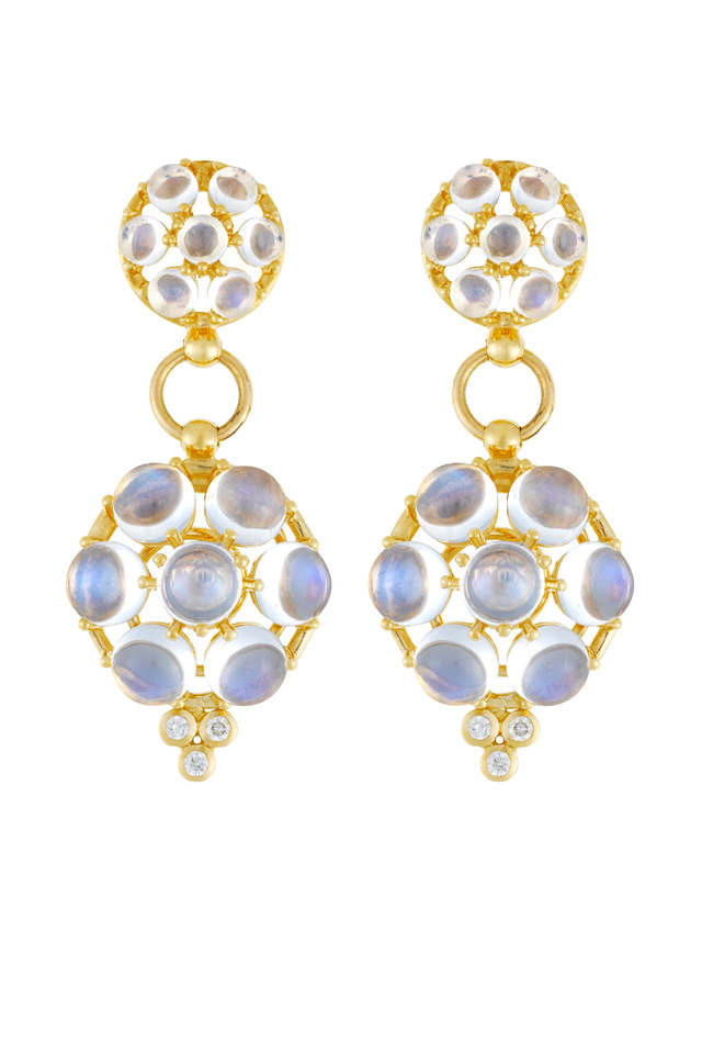 Blue Moonston Double Drop Diamond Disc Earrings