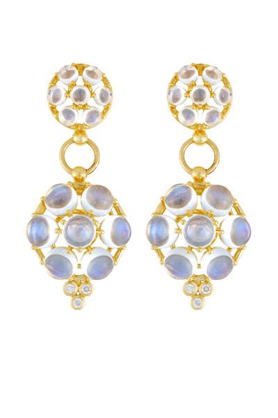 Temple St. Clair - Blue Moonston Double Drop Diamond Disc Earrings