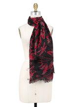 Alexander McQueen - Anthracite & Red Wool & Cashmere Fauna Scarf