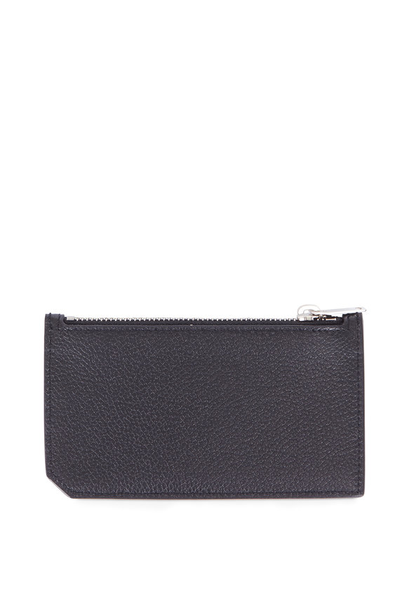 Saint Laurent Paris Black Grained Leather Zip Card Case