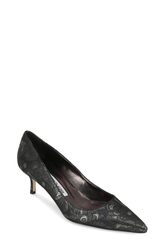 Manolo Blahnik Navy Blue & Anthracite Brocade Pump, 50mm