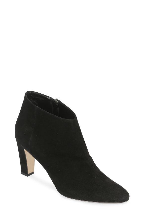 Manolo Blahnik Brusta Black Suede Ankle Boot, 70mm