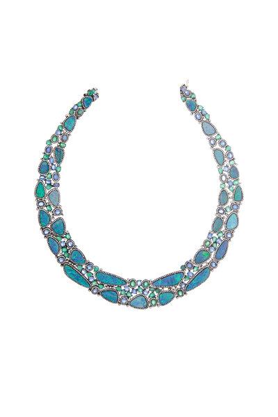 Loren Jewels - Gold Emerald, Sapphire, Opal & Diamond Necklace